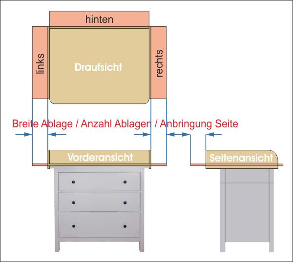 Ablage Wickelaufsatz Tisch / Kommode Holz
