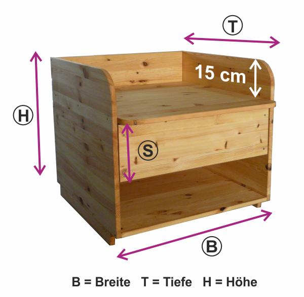 Größe Wickelaufsatz Badewanne Holz
