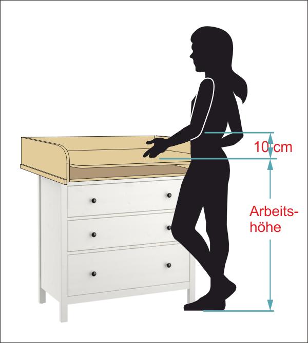 Größe Wickelaufsatz Tisch/Kommode Holz