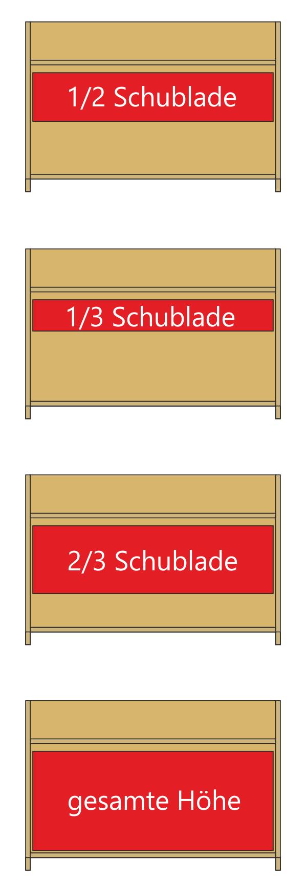 Höhe Schubladen