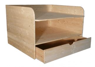 Wickelaufsatz aus Holz mit Schublade