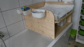 Wickelaufsatz f r badewanne mit ablage aus holz m bel - Ablage badewanne ...
