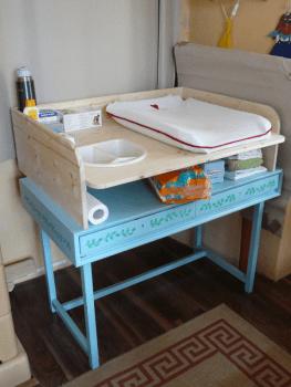 Wickelaufsatz für Tisch erhöhte Ausführung aus Holz