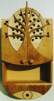 Schränkchen mit Ovalspiegel aus Holz - sehr hochwertig
