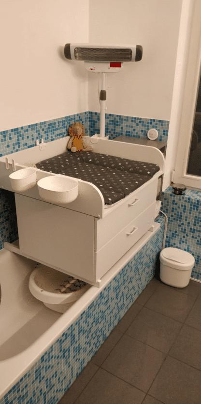 Wickelaufsatz Badewanne mit zwei Schubladen